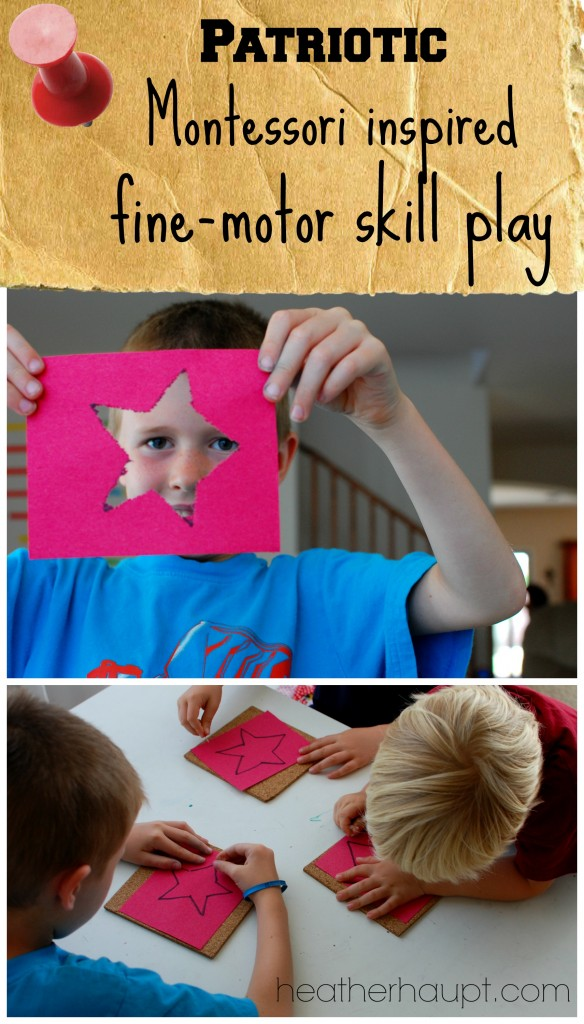 "Using a classic montessori ""pin-pushing"" activity with a patriotic twist.  Excellent for developing #FineMotorSkills."
