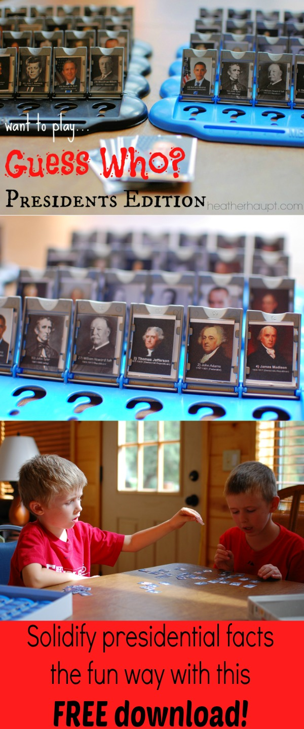Download this FREE Printable and play a rousing game of Guess Who: President's Edition. Pictures, fact sheets to help with asking questions.
