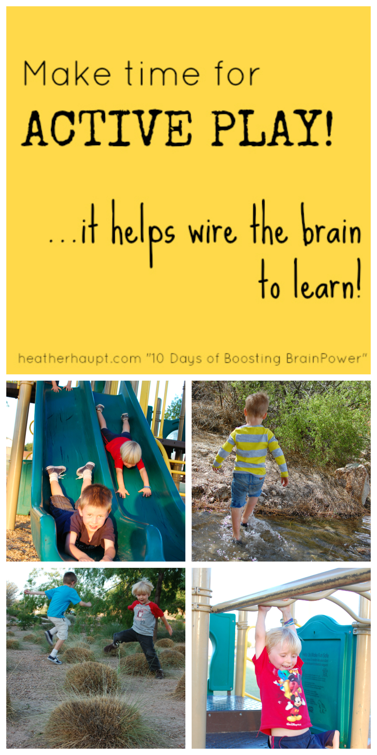Active play promotes brain development!  It's not just fun, it is FUNdamental! {Day 5 of Boosting Brain Power}