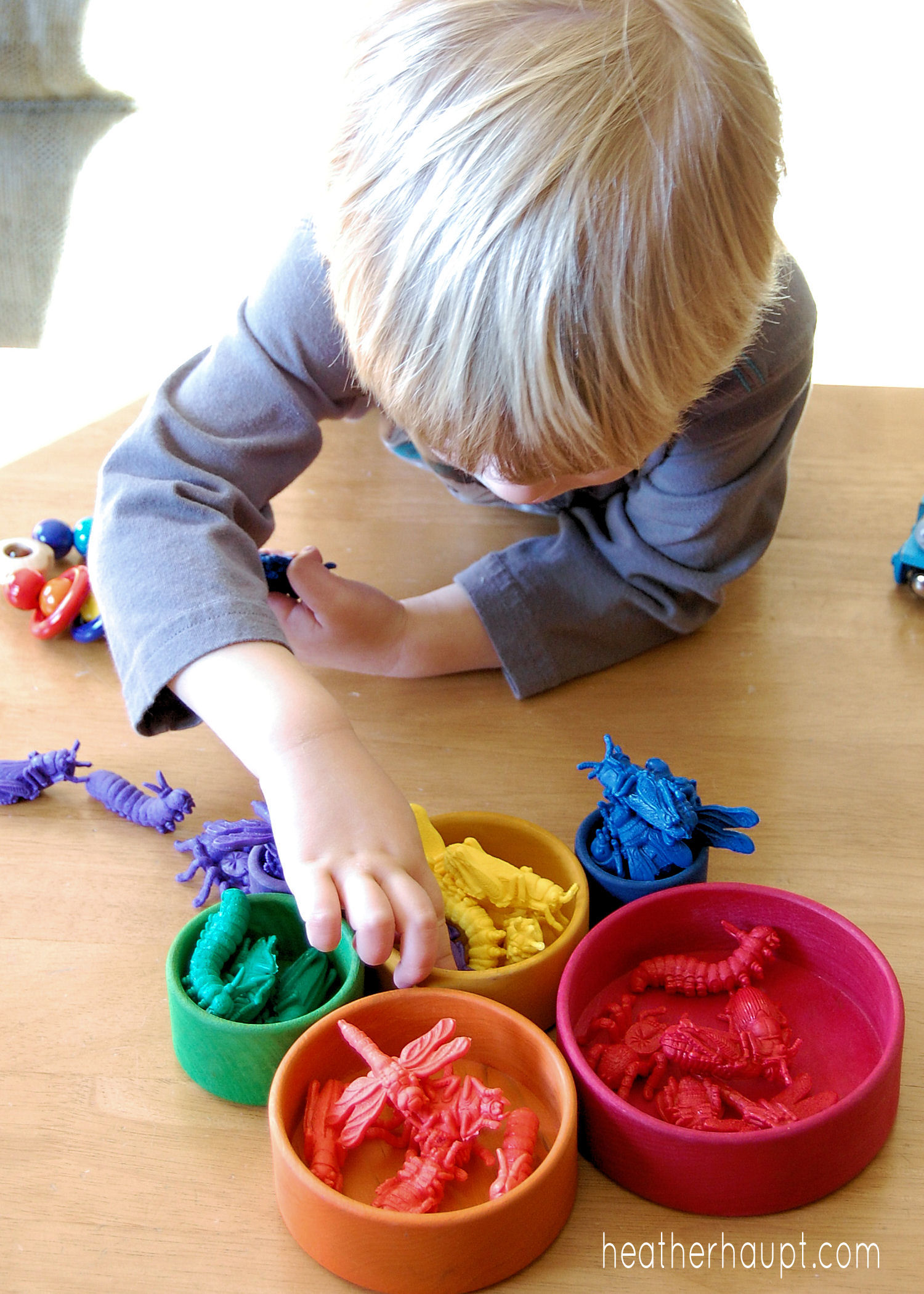 Beautiful wooden bowls and colored bugs are the perfect combo for developing important preschool skills.