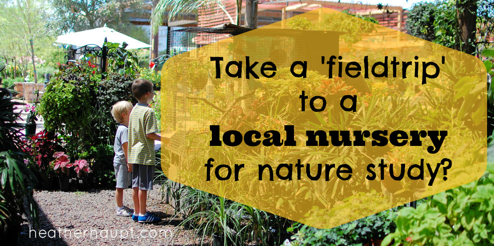 Taking a field trip to a local nursery for 'nature study' for a 'nature mapping the neighborhood' challenge!