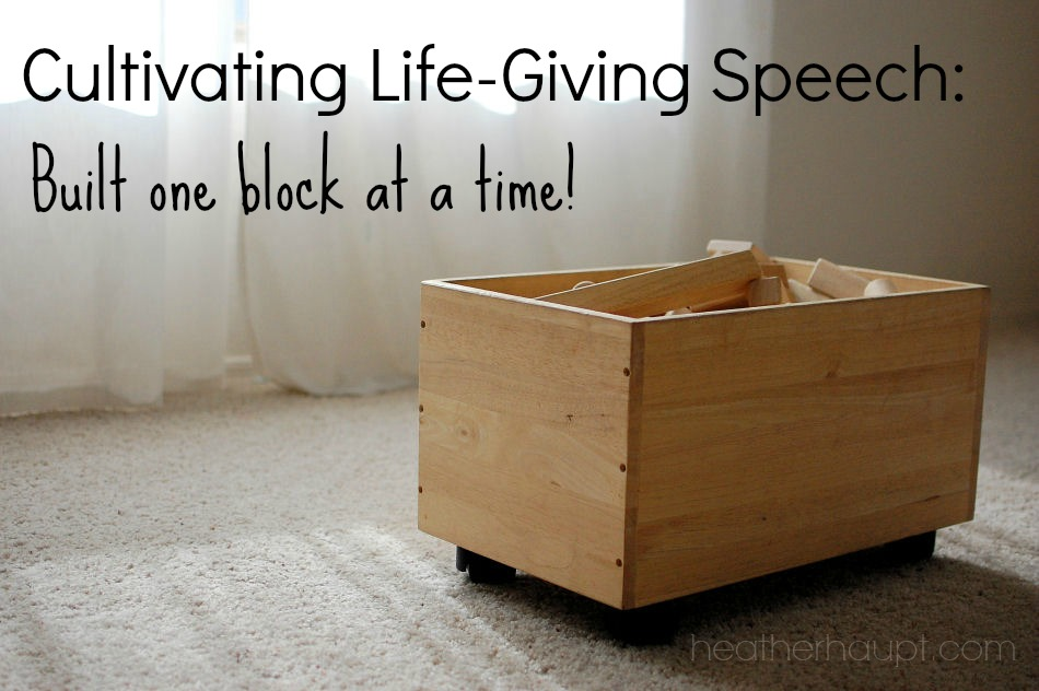Cultivating life-giving speech is so important and a daily occurrence - like building a tower one block at a time... A review of a new family devotional: Learning to Speak Life