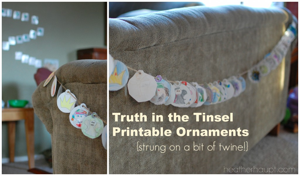 Truth in the Tinsel printable ornaments - Simply color and strong on a bit of twine! {COUPON CODE alert!}