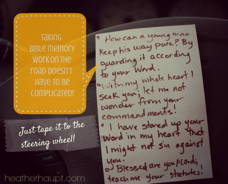 A great way to memorize Bible verses is to take take it on the road with you! #EndBiblePoverty