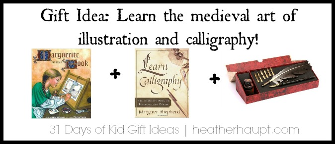 Inspire your girl {or boy} by giving them the inspiration and tools to explore the medieval art of illustration and calligraphy!