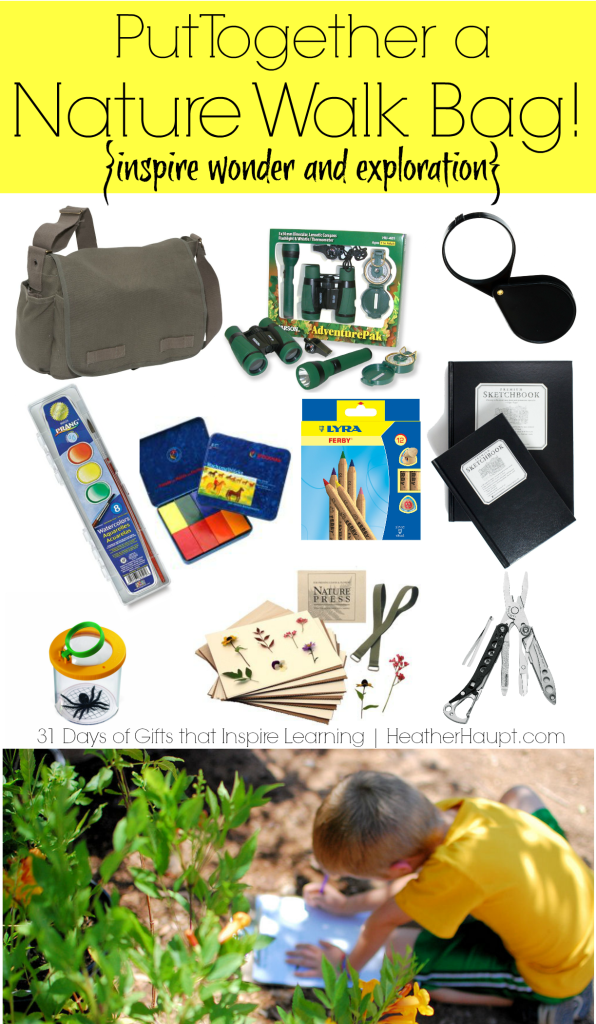 Putting together a Nature Walk bag makes for a creative, fun, and engaging gift idea!