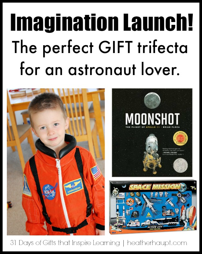 The perfect gift combination for a kid who loves everything SPACE related! {Day 16 of a 31 day series on Gifts that Inspire Learning}