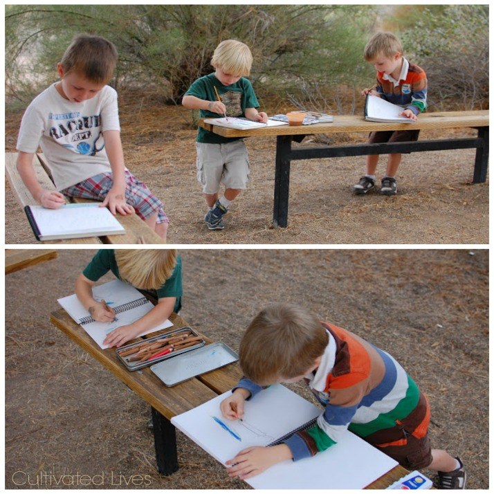 Pencils, watercolors and a notebook make for a fun nature outing!