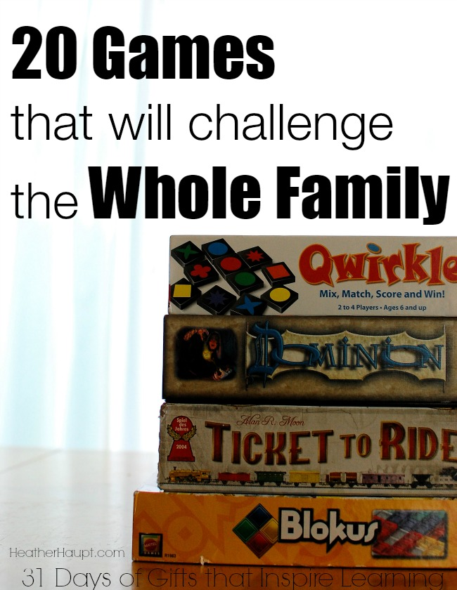 Games make great gifts. Here's 20 games that will challenge the whole family!