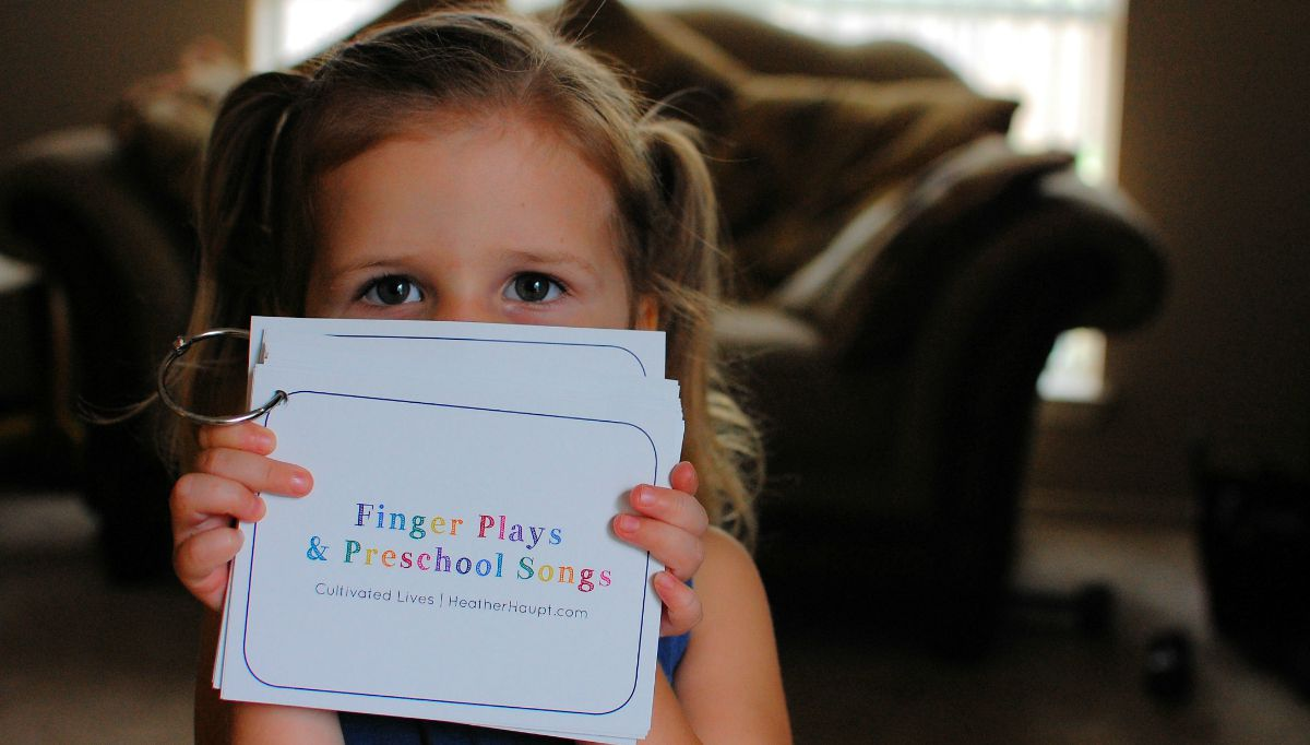{30 Finger Play and Preschool Song Cards} Convenient and Effective! They help develop so many critical preschool skills. Reading them in book is good. Repetition is even better.