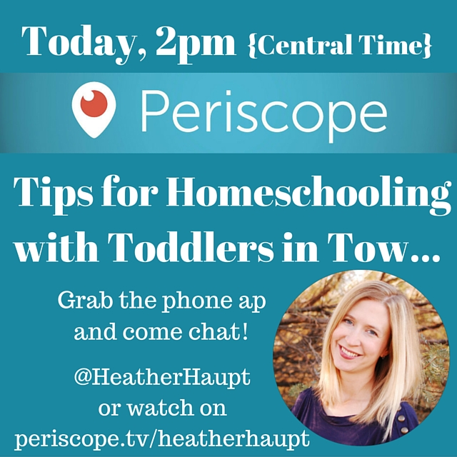 Chatting about intentional parenting and inspired homeschooling each Thursday on Periscope!