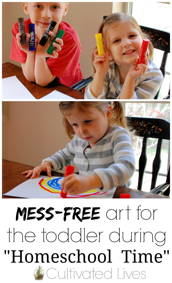 Kwik Stix provide an easy, mess-free way for kids to create and paint! They are the perfect way to occupy a preschooler or toddler during homeschool time!