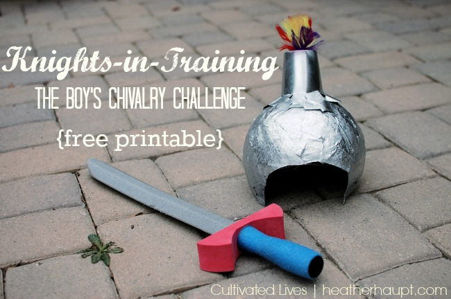 Chivalry is far more than merely how a man treats a woman. It is a whole code of conduct and it is inspiring! Free printable and training log for Knights-in-Training, a boys chivalry challenge!