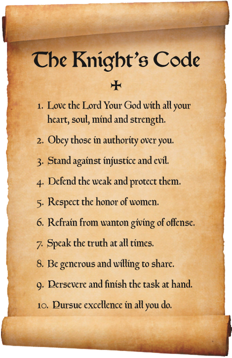 the code of chivalry The code of chivalry in the once and future king th white's novel the once and future king presents a code of chivalry that outlines the expected knightly behavior of the time this particular code stresses loyalty to one's liege, love and respect toward women, and absolute devotion to justice.