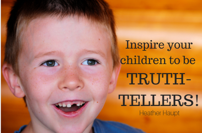 Happy young boy. Text on image reads Inspire your children to be Truth Tellers